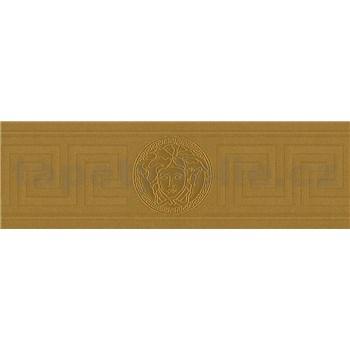 Luxusní vliesové  bordury na zeď Versace III hlava medúzy s řeckým klíčem zlatá