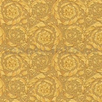 Luxusní vliesové  tapety na zeď Versace IV barokní květinový vzor žluto-černý