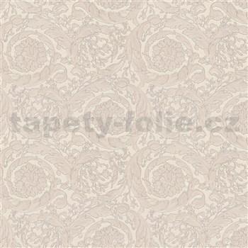 Luxusní vliesové tapety na zeď Versace III barokní květinový vzor světle hnědý