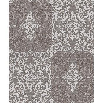 Vinylové tapety na zeď Vila patchworkový zámecký vzor světlý šedo-stříbrný na tmavě šedém podkladu