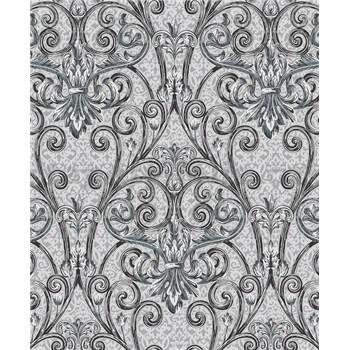 Vinylové tapety na zeď Vila zámecký vzor černo-stříbrný na šedém podkladu