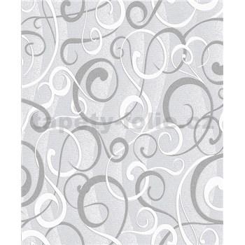 Vinylové tapety na zeď Vila moderní vzor šedo-bílý na šedém podkladu