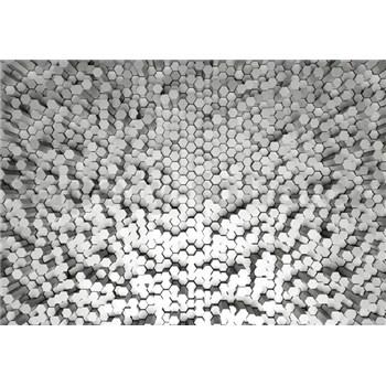 Fototapety 3D hexagony bílé rozměr 368 cm x 254 cm