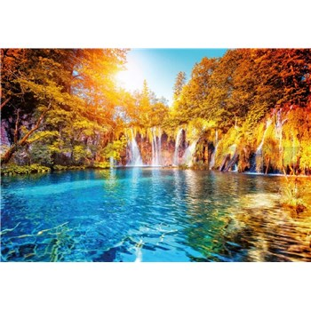 Vliesové fototapety vodopád a jezero v Chorvatsku rozměr 368 cm x 254 cm