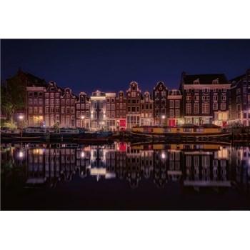 Vliesové fototapety Amsterdam v noci rozměr 368 x 254 cm