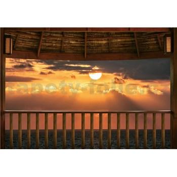 Vliesové fototapety západ slunce na terase rozměr 368 cm x 254 cm