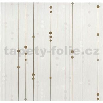 Vinylové tapety na zeď WohnSinn - proužky s kuličkami béžovo-zlaté