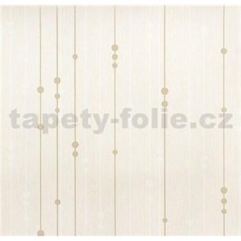 Vinylové tapety na zeď WohnSinn - proužky s kuličkami hnědo-bílé