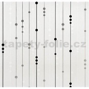 Vinylové tapety na zeď WohnSinn - proužky s kuličkami stříbrno-černé