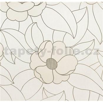 Vinylové tapety na zeď WohnSinn - květy světle hnědé se zlatými konturami