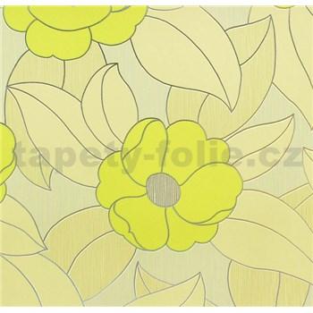 Vinylové tapety na zeď WohnSinn - květy zelené se stříbrnými konturami