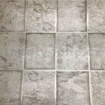 Vinylové tapety na zeď kachličky šedé se stříbrnými odlesky