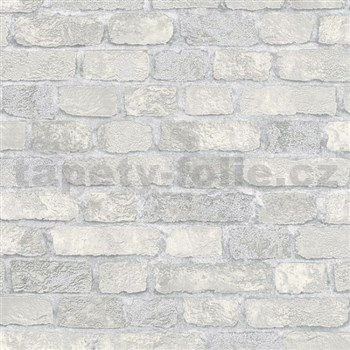 Vliesové tapety na zeď Brique 3D cihly bílo-krémové s výraznou plastickou strukturou