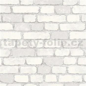 Vliesové tapety na zeď Brique 3D cihly bílé s výraznou plastickou strukturou