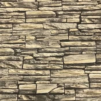 Vliesové tapety na zeď kamenná zeď hnědá