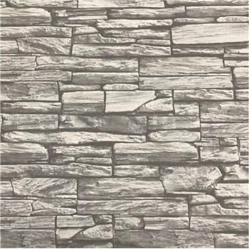 Vliesové tapety na zeď kamenná zeď černá