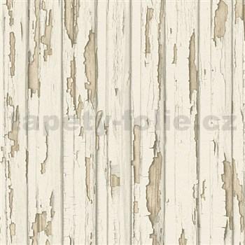 Vliesové tapety na zeď stará dřevěná prkna bílá