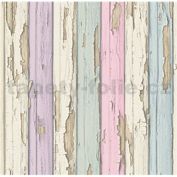 Vliesové tapety na zeď stará dřevěná prkna barevná