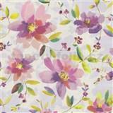 Vliesové tapety na zeď Allure květy fialové se zelenými lístky