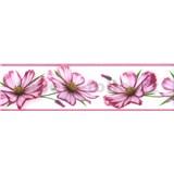 Samolepící bordura květy růžové 5 m x 8,3 cm