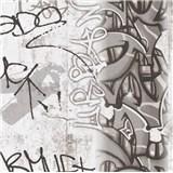 Papírové tapety na zeď Boys & Girls graffiti černobílé
