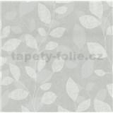 Vliesové tapety na zeď Collection lístky světle šedé - POSLEDNÍ KUSY