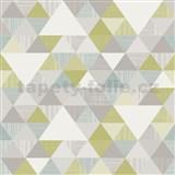 Vliesové tapety na zeď Collection geometrický vzor moderní zeleno-modrý
