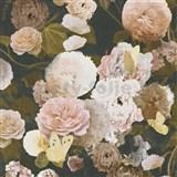 Vliesové tapety na zeď květy velké na černém podkladu