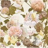 Vliesové tapety na zeď květy velké na bílém podkladu