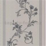 Vliesové tapety na zeď florální vzor na šedém vzorovaném podkladu