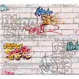 Papírové tapety na zeď bílé cihly s graffity
