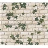 Papírové tapety na zeď bílá cihla s břečťanem