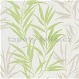 Vliesové tapety na zeď Mix Up bambusové listy zelené a bílé - POSLEDNÍ KUSY