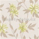 Vinylové tapety na zeď Spring květy zelené s hnědými stonky a lístky - POSLEDNÍ KUSY