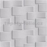 Vliesové tapety na zeď Exposure 3D kamenné kostky světle šedé