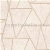Vliesové tapety na zeď Exposure vápencové dlaždice béžové s zlatými švy