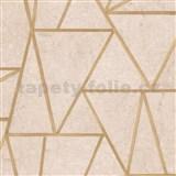 Vliesové tapety na zeď Exposure vápencové dlaždice hnědé s zlatými švy