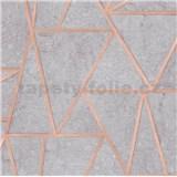 Vliesové tapety na zeď Exposure vápencové dlaždice šedé s měděnými švy