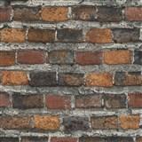 Vliesové tapety na zeď IMPOL Factory 4 cihly oranžovo hnědo-bordová