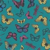 Vliesové tapety na zeď Felicita motýli barevní na zeleném podkladu