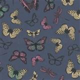Vliesové tapety na zeď Felicita motýli barevní na modrém podkladu