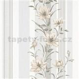 Vliesové tapety na zeď IMPOL Finesse květy hnědé s šedými pruhy