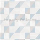 Vliesové tapety na zeď IMPOL Finesse trojúhelníky modro-šedé