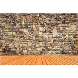 Vliesové fototapety kamenná stěna rozměr 375 cm x 250 cm
