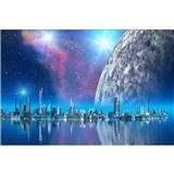 Vliesové fototapety futuristické město rozměr 375 cm x 250 cm