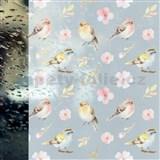 Statická fólie transparetní SPRING BIRDS - 45 cm x 15 m