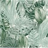 Vliesové tapety na zeď Greenery florální vzor černo-zelený