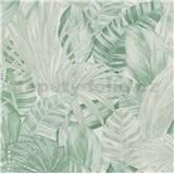 Vliesové tapety na zeď Greenery florální vzor černo-světle zelený