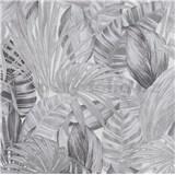 Vliesové tapety na zeď Greenery florální vzor černo-bílý