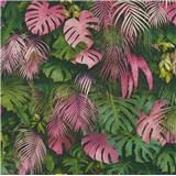 Vliesové tapety na zeď Greenery palmové listy růžovo-zelené